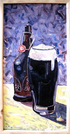 """BEER Art Painting of Homebrew Dark Beer - 12"""" x 24"""""""
