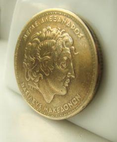 Gold Drachma Greek Coin  Item No. 4658 Vintage by urbanbeadbazaar, $3.95