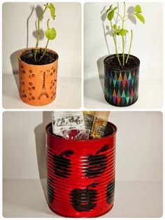 Reciclaje latas - Tiestos y portalápices // DIY Flower Plants Pots - Pencil holder Planter Pots, Recycled Tin Cans, Manualidades, Preschools, Plants, Plant Pots