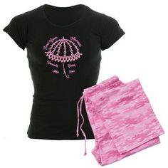 Pink Ribbon Umbrella Women's Dark Pajamas