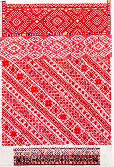 FolkCostume&Embroidery: Red sleeve embroidery of the Sniatyn district, Pokuttia, Ukraine