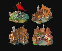 Fantasy buildings by petura on deviantART Environment Concept Art, Environment Design, Prop Design, Game Design, Low Poly, Game Art, 3d Fantasy, Fantasy City, Fantasy Forest