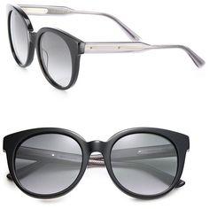 Bottega Veneta 52MM Round Acetate Sunglasses featuring polyvore, women's fashion, accessories, eyewear, sunglasses, apparel & accessories, black grey smoke, acetate sunglasses, round lens glasses, grey sunglasses, grey lens sunglasses and rounded sunglasses