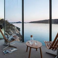 Tag someone whod like this view! Manshausen Island Resort is designed by Stinessen Arkitektur and is located in // Photo by Nadia Norskott - Architecture and Home Decor - Bedroom - Bathroom - Kitchen And Living Room Interior Design Decorating Ideas - Decor Interior Design, Interior Design Living Room, Room Interior, Interior Ideas, Interior Architecture, Interior And Exterior, Floor To Ceiling Windows, Contemporary Decor, Home Decor Bedroom