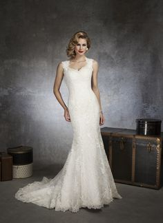Lace Organza Mermaid Gown with Queen Anne Neckline and High Illusion Back