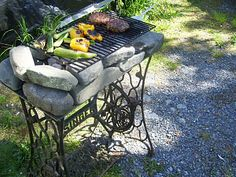 An old Singer Sewing machine, some rocks, charcoal and a grill...woot! It's the Victorian era BBQ and it works like a charm...the veggies were amazing!