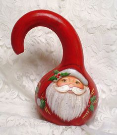 Beautiful Primitive Gourd Santa by June Dagostine on Etsy