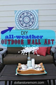 DIY all weather outdoor wall art - from a shower curtain! Get the how-to from Dollar Store Mom.