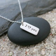 I Heart You Necklace, Sterling Silver Word Tag Charm, Love Jewelry, Gift for Her by MahaloSpirit on Etsy