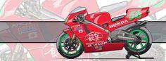 Motorcycle Art - Honda NSR 500 1994 by Evan DeCiren