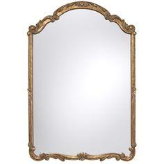 "27 3/4"" wide, 40 3/4"" tall   Feiss MMR1185AGD Unique Shape Mirror - Antique Gold at Ferguson.com"