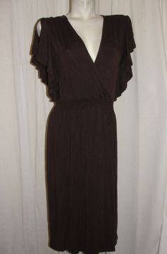 SPENSE Woman Brown Viscose Spandex Crossover V-neckline Slit Sleeve Dress Sz 2X #Spense #EmpireWaist #SummerBeach