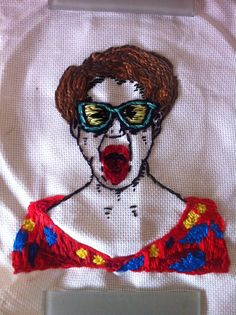 Screaming Lady by Katie Ryan. embroidery, art, weird