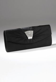 Handbags - Satin Clutch Handbag with Rhinestone Brooch from Camille La Vie and Group USA