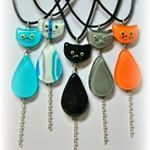 Fused glass cat necklace
