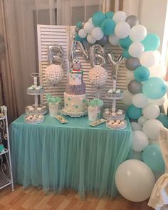 LAttLiv Balloons 56 Pcs Baby Shower Boy Balloons Latex & Foil/Mylar Letters Balloons Baby Boys Birthday Balloons Party Decoration for Baby Shower Birthday Baptism Christening- Silver & Ivory & Turquoise - Peyton's baby shower ideas - Baby Shower Deco Baby Shower, Cute Baby Shower Ideas, Baby Shower Decorations For Boys, Baby Shower Centerpieces, Girl Shower, Baby Shower Parties, Baby Shower Themes, Baptism Decorations, Boy Baby Showers