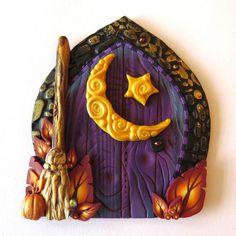Moon Harvest Fairy Door, Purple Pixie Portal, Home Decor, Fairy Garden Accessory, Wall Decor, Miniature Tooth Fairy Door by Claybykim on Etsy