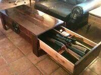 Hidden gun drawer in a coffee table great idea