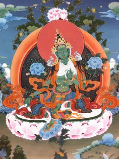 "Green Tara (Tib. སྒྲོལ་མ, Drolma) or Ārya Tārā, also known as Jetsun in Tibetan Buddhism, is a female Bodhisattva in Mahayana Buddhism who appears as a female Buddha in Vajrayana Buddhism. She is known as the ""mother of liberation"", and represents the virtues of success in work and achievements.   Learn more at www.PreserveTibetanArt.org"