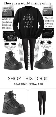 """""""I still think you're beautiful"""" by marina-hxpe ❤ liked on Polyvore featuring Demonia and H&M"""