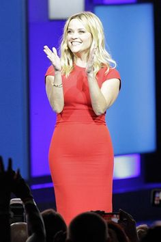 Reese Witherspoon hosts the annual Walmart stock holders meeting on June 5, 2015 in Fayetteville, Ark, wearing a Victoria Beckham Cap Sleeve Cut Out Dress. #reesewitherspoon #style