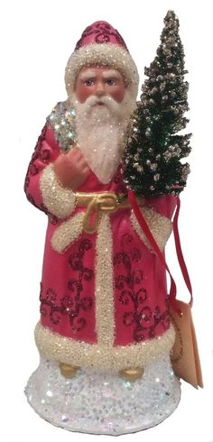 Ino Schaller Paradise Pink Santa with Tree German Paper Mache Candy Container