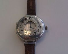 Early-Demi-Hunter-Waltham-Sterling-Silver-3-0-size-Wrist-Watch-with-leather-band