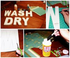 """My version of """"WASH"""" & """"DRY"""" signs for your laundry room! www.nurselovesfarmer.com"""