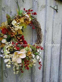 Fall Wreath, Autumn Wreaths, Thanksgiving Wreath, Harvest Decor, Elegant Fall Wreath, Fall Designer Wreath, Fall Floral Wreath Elegant Autumn Garden Wreath. An impressive collection of beautiful Fall flowers and foliage in rich shades of deep cranberry, soft gold, light avocado green, creamy ivory and soft beige mingle among matte metallic gold berry branches, set upon a rustic grapevine frame. Very lush and highly detailed, this eye-catching and sophisticated wreath is a stunning addition…