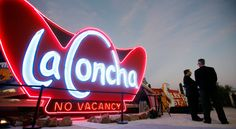 The sign for the old La Concha Hotel. The building has been re-purposed as the visitor center for the Neon Museum.