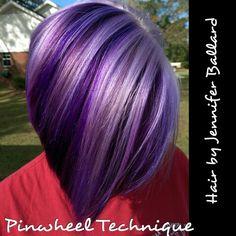 Alternating pinwheel technique using Rusk purple Schwarzkopf Lavender & Schwarzkoff Vario Blonde.