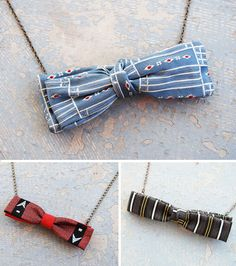 Repurpose an old bow-tie into a retro looking necklace. Must try this!