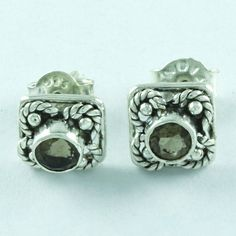 Exotic Design Real 925 Sterling Silver Smoky Quartz Stone Studs Earring E3507 #SilvexImagesIndiaPvtLtd #Stud