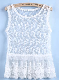 White Sleeveless Sheer Ruffle Lace Vest US$19.25