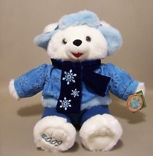 2009 Blue Snowflake Teddy Bear Plush White Blue Outfit Christmas Dan Dee