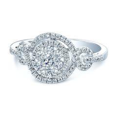 Coronet Diamonds Dawn Solitaire Diamond Twist Engagement Ring 18K White Gold