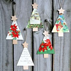 Christmas Tree Ornaments Handmade From Vintage Cards Petticoat Junktion