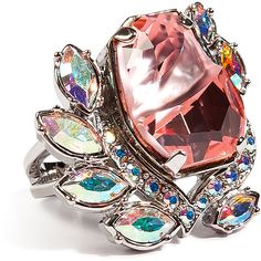 MAWI Flower Gemstone Ring in Pink ($200) ❤ liked on Polyvore featuring jewelry, rings, accessories, bague, bijoux, gemstone cocktail rings, pink cocktail ring, flower rings, band jewelry and pink ring