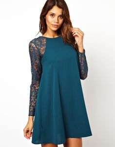 ASOS   ASOS Swing Dress With Lace Sleeves at ASOS  Comes in black for Winter Formal!!!!!