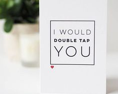 Double Tap You Funny Valentine's Day Card - Instagram Pun Card - Funny Valentine's Day Card - Anniversary Card - Valentines Card