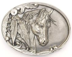 Horsehead With Feathers Belt Buckle Western Express, http://www.amazon.com/dp/B004W94TIE/ref=cm_sw_r_pi_dp_d3EFqb06WDSQZ