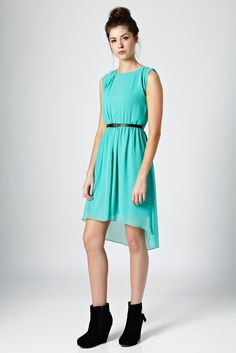 Pleat Neck Detail Mullet Hem Dress