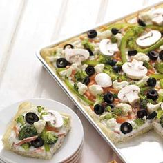 Veggie pizza squares  http://www.tasteofhome.com/Healthy/Recipe-Makeovers/Appetizers/Veggie-Pizza-Squares