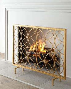 "Handcrafted fireplace screen. Made of iron. Hand-painted antique-gold finish. 41""W x 8""D x 32""T. Imported. Boxed weight, approximately 22.9 lbs."