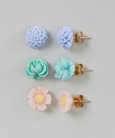 Green, Pink & Purple Flower Stud Earrings Set by Baby Raindrops #zulily #zulilyfinds