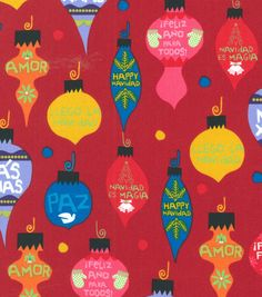 Holiday Inspirations Fabric- Christmas Happy Navidad Red