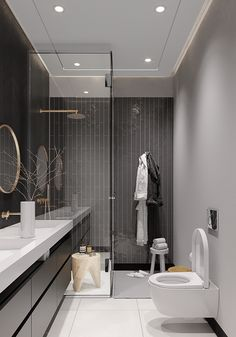 Weens huis 869 m Dezign Ark (Beta) Modern Bathroom Design, Bathroom Interior Design, Home Office Design, House Design, Architecture Résidentielle, Bathroom Trends, Bathroom Inspiration, Luxury Apartments, Small Bathroom