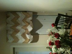 Bunched chevron burlap curtains