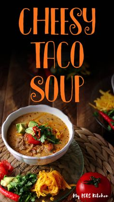 Low Carb Keto Taco Soup Recipe - My PCOS Kitchen This cheesy taco soup is off the charts! Loaded with healthy ingredients, it can be made in the crock pot, instant pot or stove top. This is the best keto soup with ground beef you'll ever make! Low Carb Taco Soup, Low Carb Soup Recipes, Low Carb Tacos, Keto Taco, Keto Soup, Ketogenic Recipes, Keto Recipes, Healthy Recipes, Protein Recipes