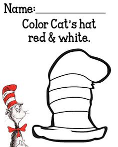 dr. seuss cat in the hat | school, activities and kindergarten - Dr Seuss Printable Coloring Pages